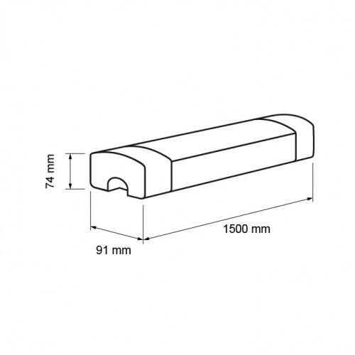 LED armatur 50W, kold lys, 220V, 1,50 m, 5000K, IP65