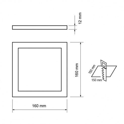 LED Panel, varmt lys, indbygget, firkantet 12W, SMD2835,