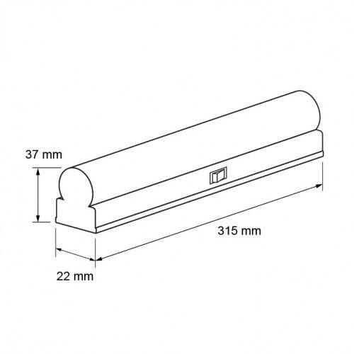 LED armatur i termisk plast, Т5, 220V, 4200K, 4W