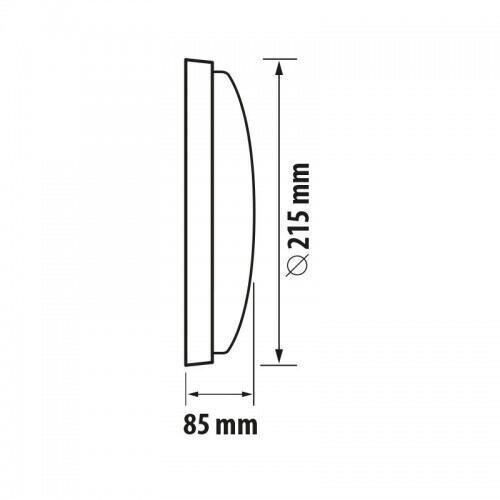 Led væglampe m.sensor, rund, 14W, 4200K, IP54