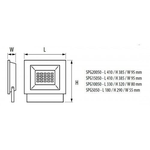 Led professionel projektør 50W, 5000K, IP65