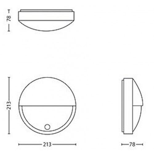 Led væglampe m/u.sensor, halvcirkel, 12W, 3000K, IP65