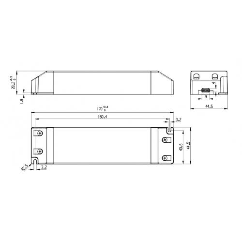 Professionel 24V Dc LED driver, til belysning, anvendes til mindre opgaver, på til 60 watt,